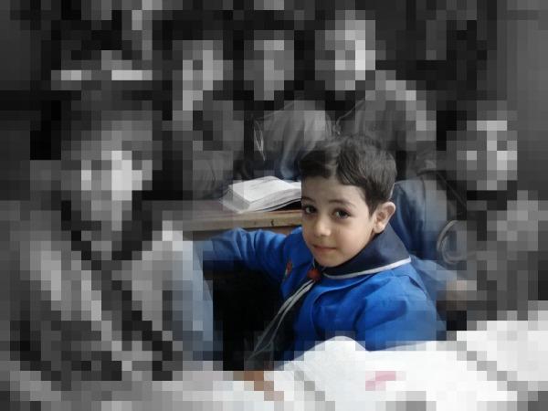 Un élève dans une école syrienne, Kassioum.  © Limoune